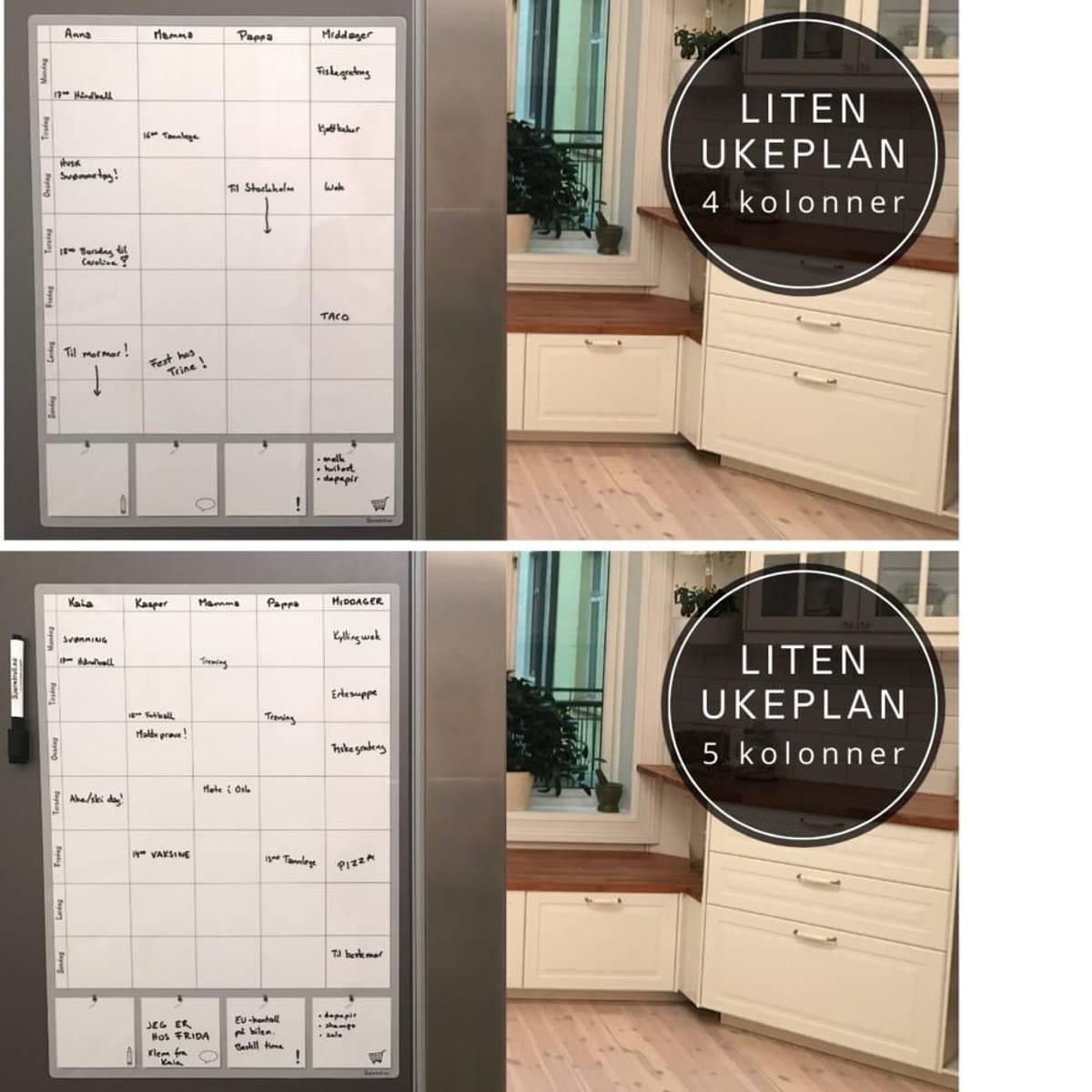 LITEN UKEPLAN, MAGNETISK - Også til integrerte kjøleskap & vegg