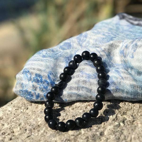 Bilde av BLACK AGATE - Armbånd i naturstein