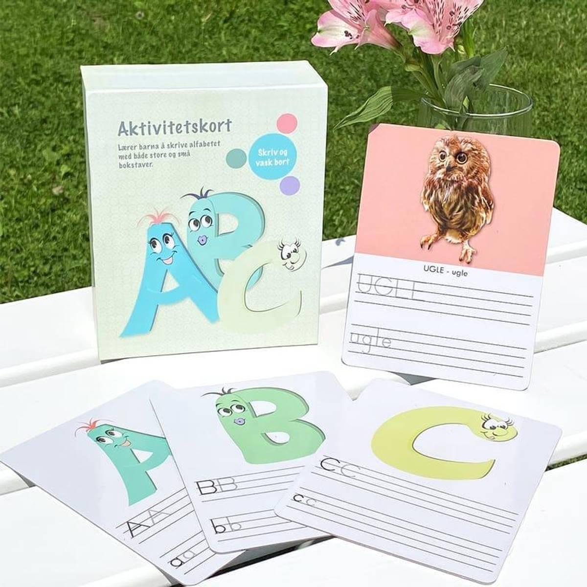 AKTIVITETSKORT ABC - Laminerte kort med bokstaver, ord og bilder