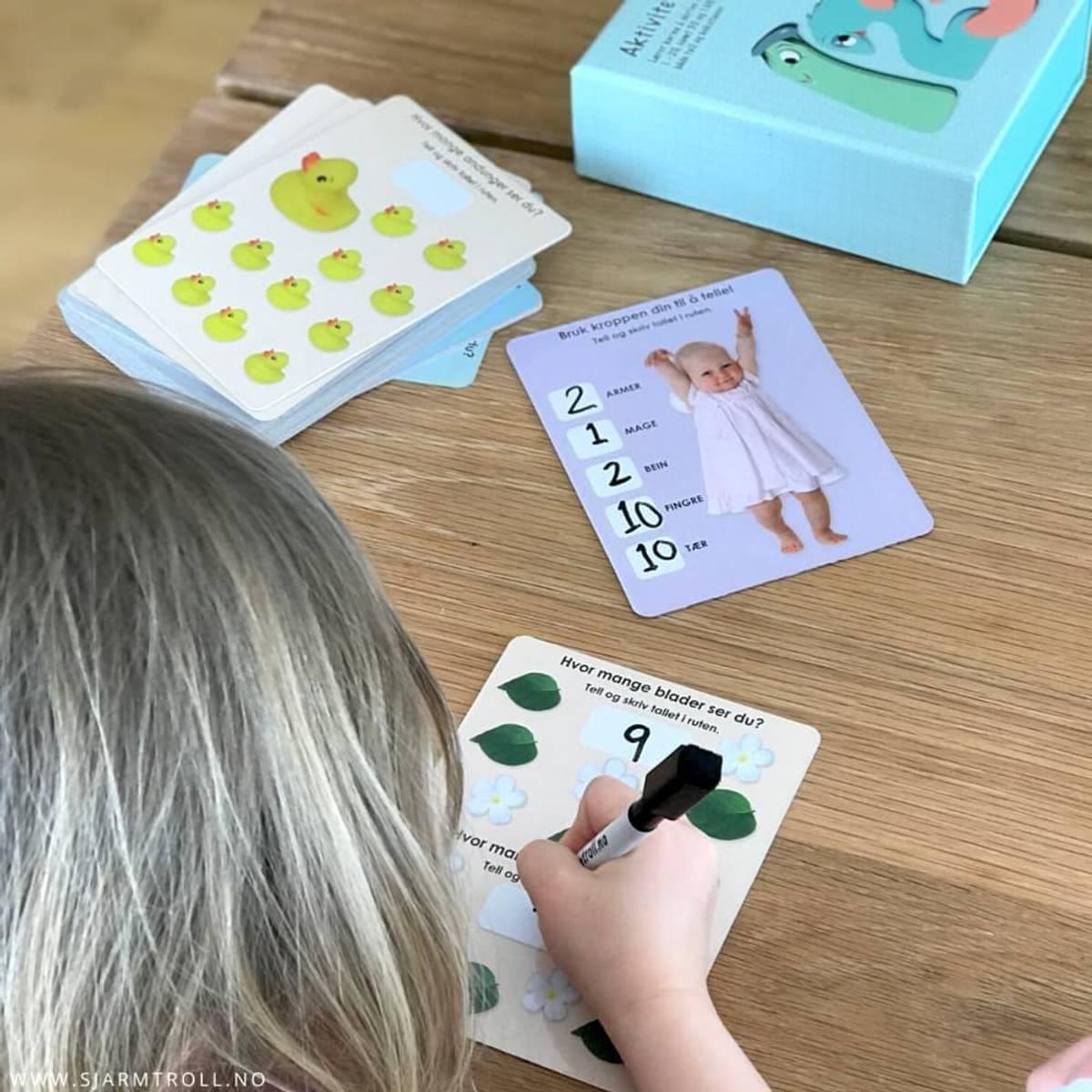 AKTIVITETSKORT 123 - Laminerte kort med tall, mengde og oppgaver