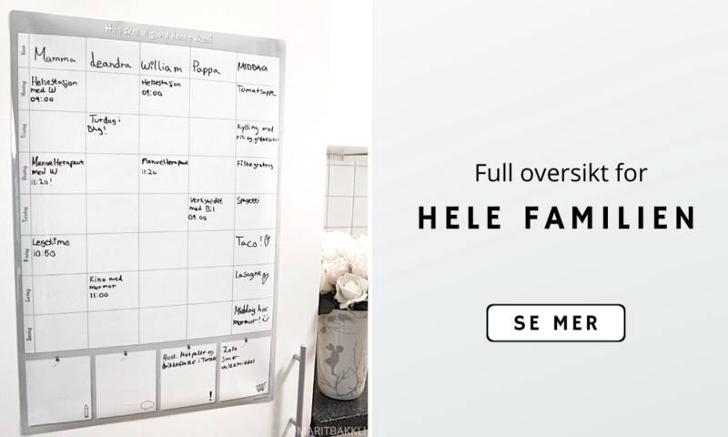 Oversikt i hverdagen, magnetisk ukeplan, månedsplan, familieplanlegger