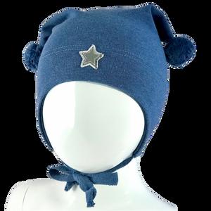 Bilde av Kivat Bomull lue, melert blå med grå stjerne.