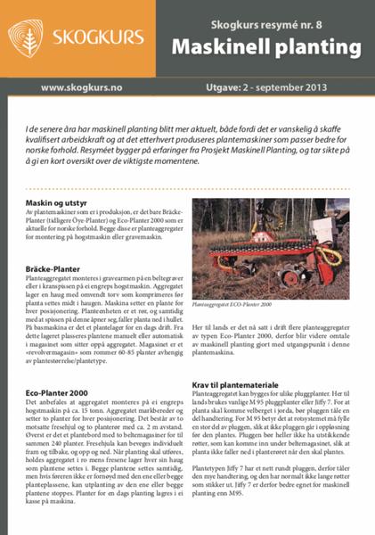 Maskinell Planting - Skogkurs Resyme - Nr. 08
