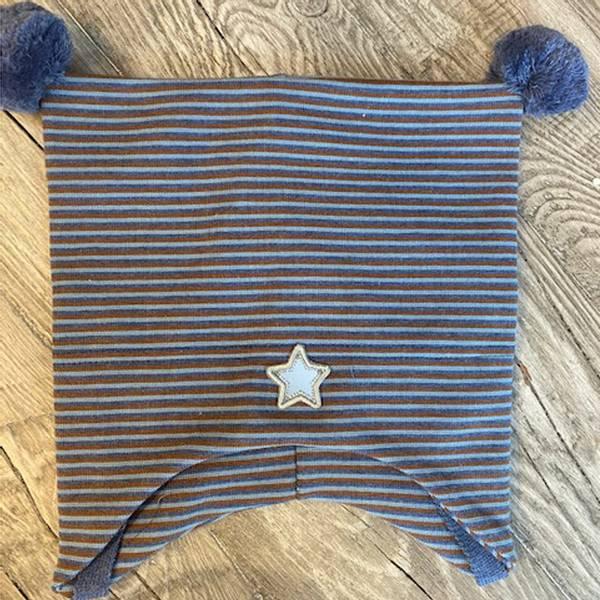 Bilde av Kivat - Knytelue i bomull m. vindstopper Stjerne stripete Blå/br