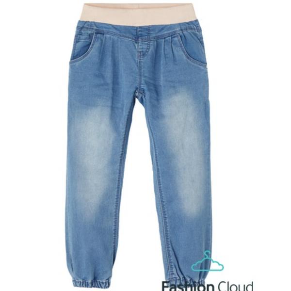 Bilde av Denim bukse med strikk, Light