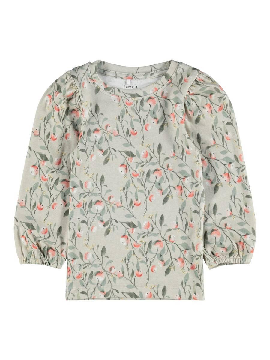 Blomstret LS genser med strikk i ermet, Peyote Melange, Name it