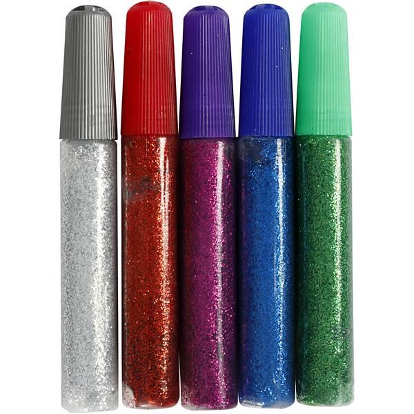 Bilde av Glitterlim 5 stk mørke farger