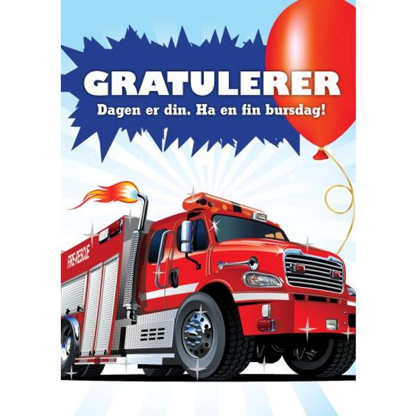Bilde av Bursdagskort, brannbil