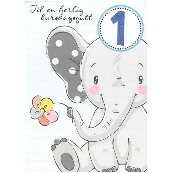 Bilde av Bursdagskort, elefant 1år,