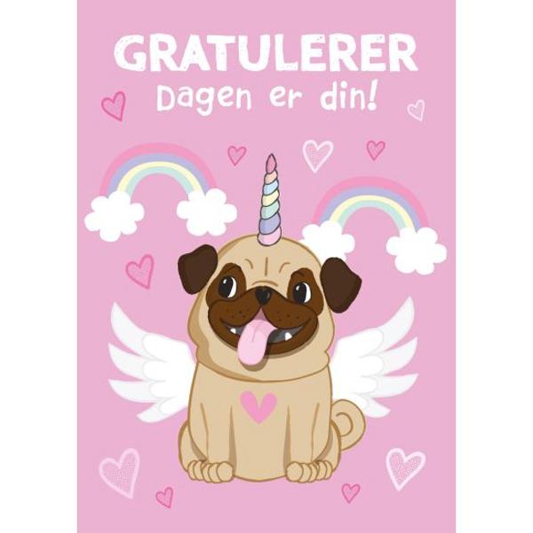 Bilde av Bursdagskort, enhjørning/hund