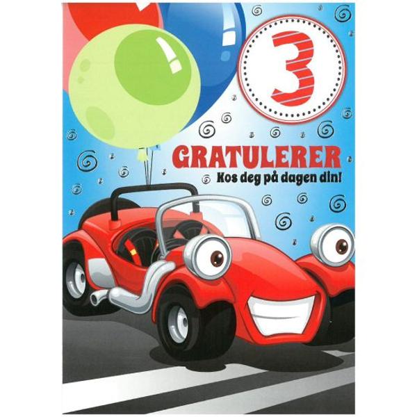 Bilde av Bursdagskort, racerbil, 3år