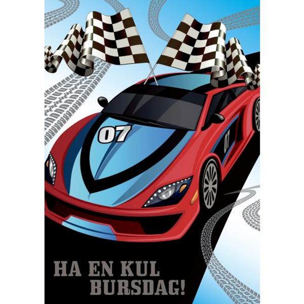 Bilde av Bursdagskort, rød og blå bil