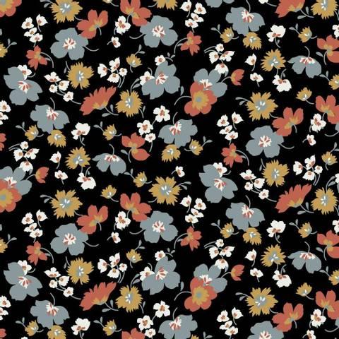 Bilde av Blomsterdrøm Sort - Tencel Modal Jersey