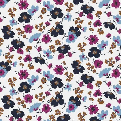 Bilde av Blomsterdrøm Hvit - Tencel Modal Jersey