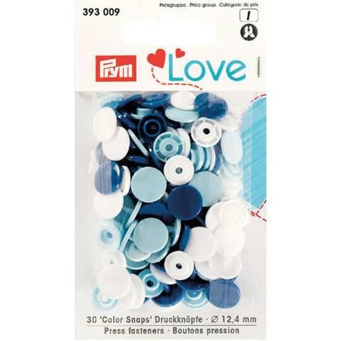 Bilde av Trykknapp hvit, lysblå, blå 12 mm 30 stykk - Prym