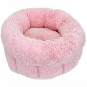 Bilde av Plysjseng Small 38 x 35 x 20 cm. Rund rosa seng til katt og hund
