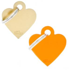 Bilde av ID Tag My Family Small Basic Aluminium Hjerte - ID Brikke Orange