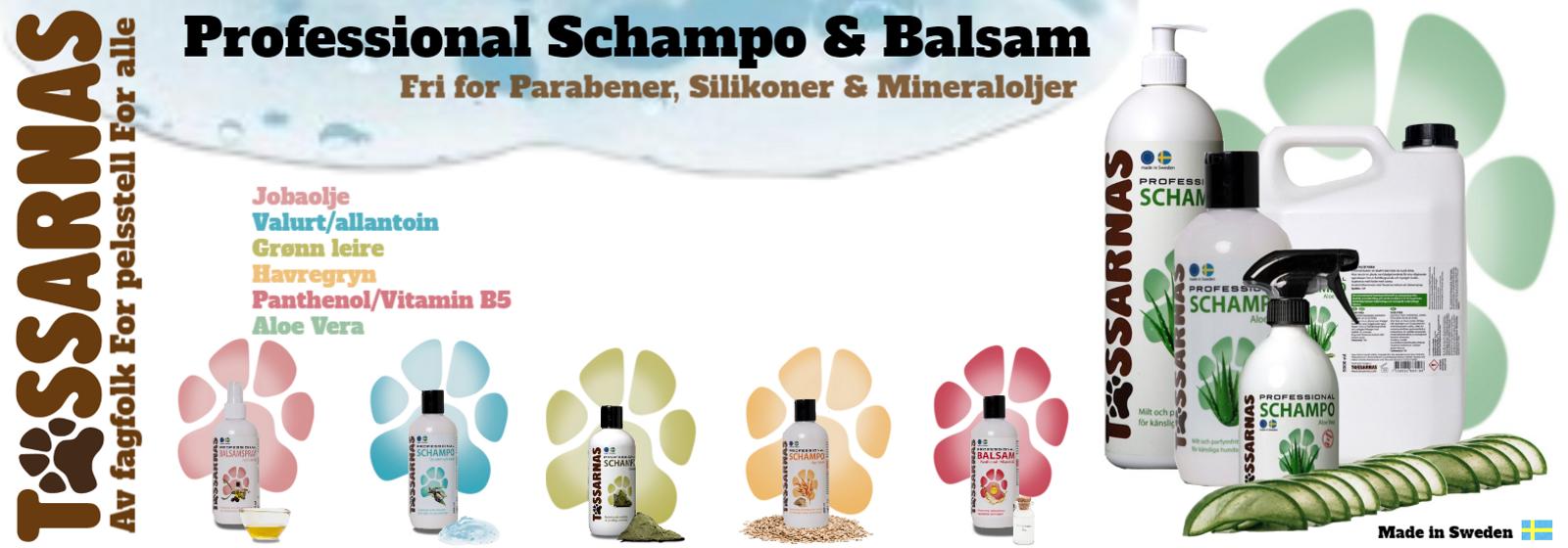 Sjampo og balsam til hund og katt, Tassarnas professional. Stell og vask av hundepels