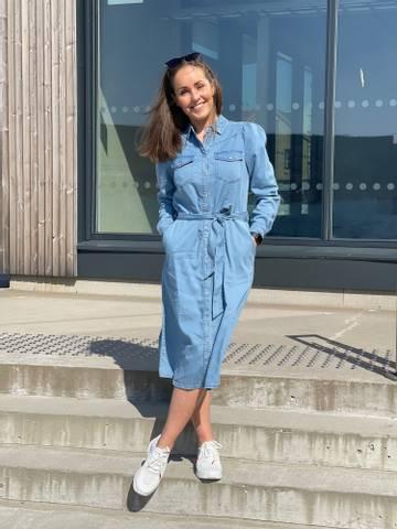 Bilde av FIA LONG DRESS PUFF - VINTAGE BLUE DENIM