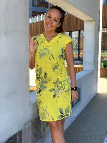 Bilde av FLOWER LIN DRESS - LEMONADE