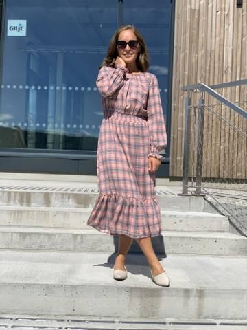 Bilde av VYDA DRESS - PINK/BLUE CHECK