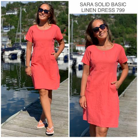 Bilde av SARA SOLID LINEN DRESS - CORALL