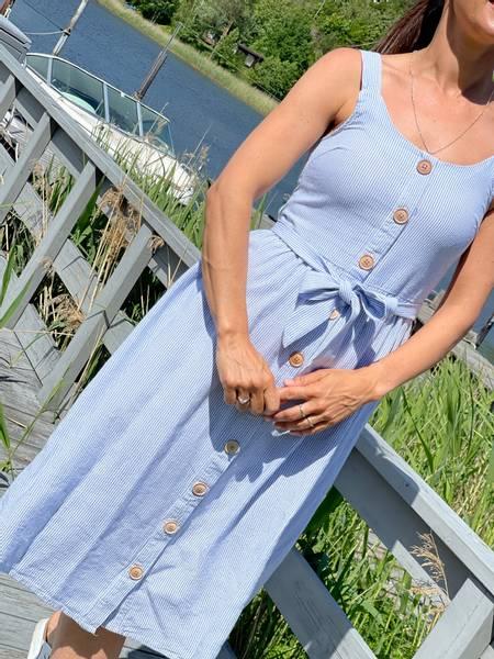 LAVARA DRESS STRIPE - CHAMBRAY BLUE