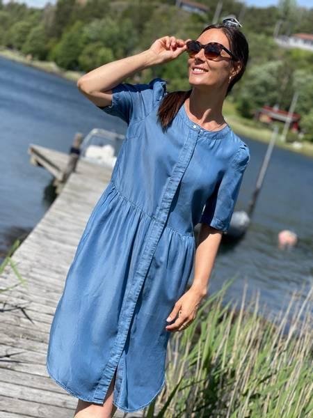 ROSIE LONG DRESS - VINTAGE BLUE MIX