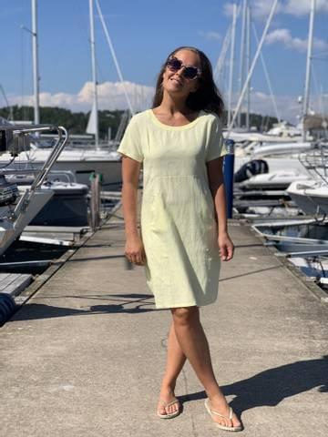 Bilde av SARA SOLID LINEN DRESS - LIGHT YELLOW