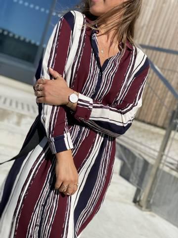 Bilde av ALICE STRIPE DRESS - NAVY/PLUM