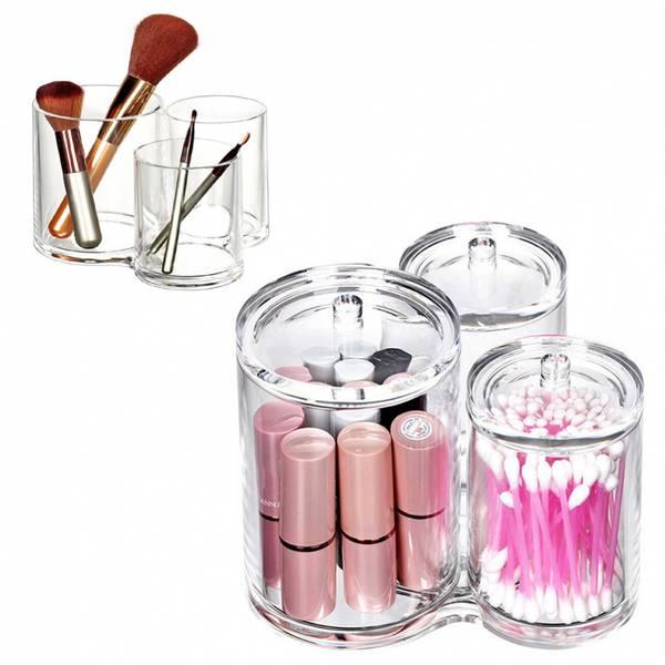 Bilde av Makeup Organizers rund trippel beholder med lokk