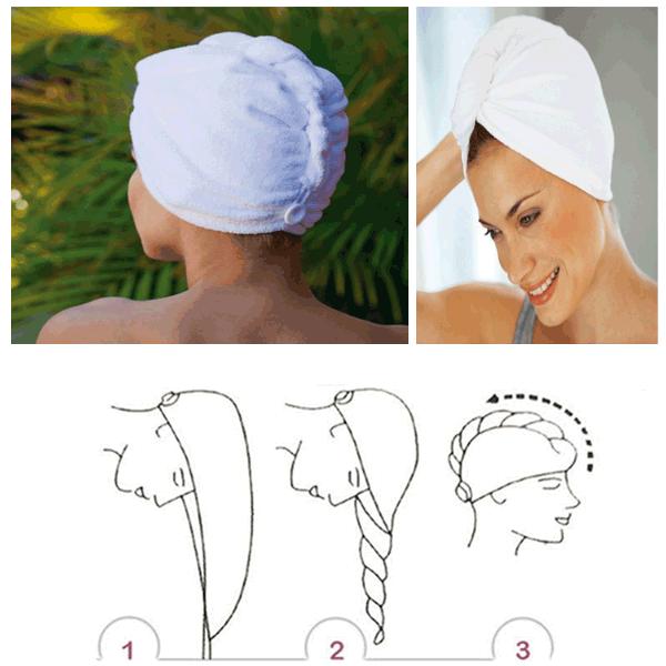 Bilde av Turban Twister håndkle for hår - Hvit farge