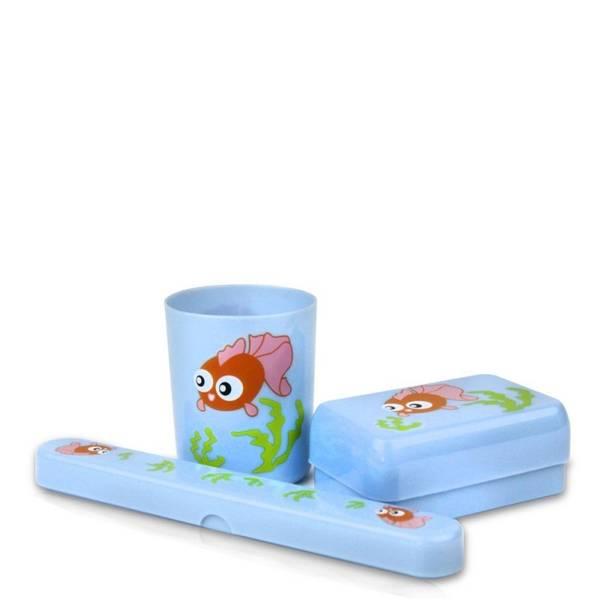 Bilde av Baderomssett barn med tannbørsteetui, krus og såpeboks