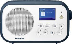 Bilde av DAB radio Sangean DPR42 BT hvit/blå med blåtann.