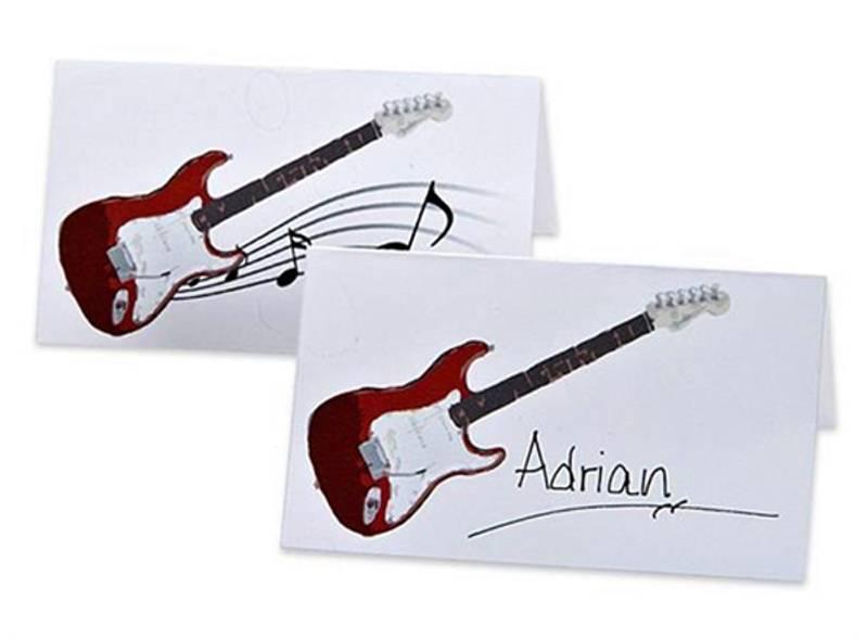 Bordkort rød gitar.