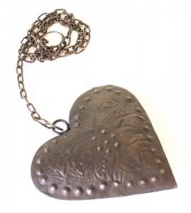 Bilde av Stort hjerte i metall, brunt