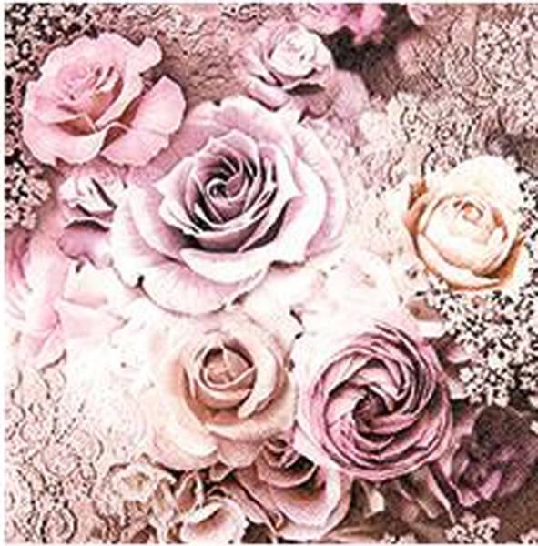 Lunsj serviett, roser i gammelrosa farge, Home Fashion.