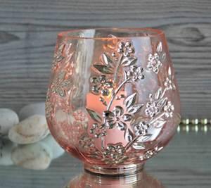Bilde av Lysglass, rosa med preget