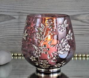 Bilde av Lysglass, lilla med preget