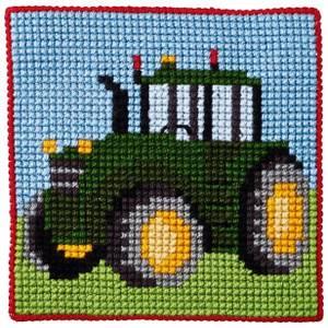 Bilde av Barnebroderi traktor 25 x 25 cm