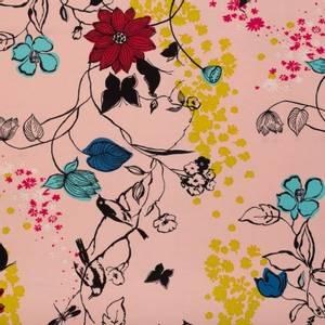 Bilde av Viskosejersey fersken blomster og fugler single