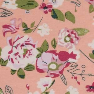Bilde av Viskosejersey fersken blomster single jersey