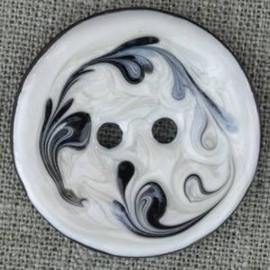 Bilde av Kokosknapp 40 mm hvit emaljedekor