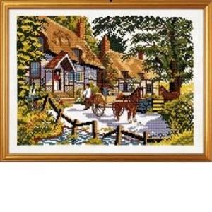 Bilde av Bilde engelske hus og hester broderipakke lin