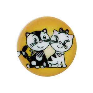 Bilde av Barneknapp to katter oker 20 mm