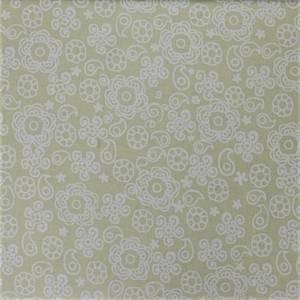 Bilde av Beige med hvitt blomstertrykk quiltestoff