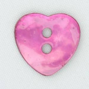 Bilde av Perlemorsknapp hjerte cerise 17 mm