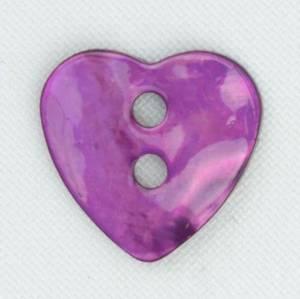 Bilde av Perlemorsknapp hjerte lilla 17 mm