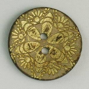 Bilde av Kokosknapp med gulldekor 30 mm
