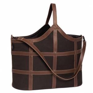 Bilde av XL Leather Canvas Bag Brown